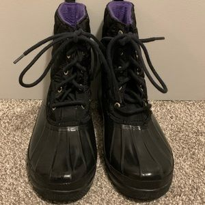 Black and Purple Sperry Topsider Duck Boots 🖤💜